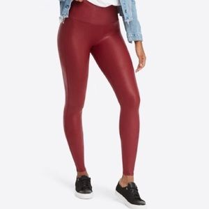 Spanx crimson faux leather leggings